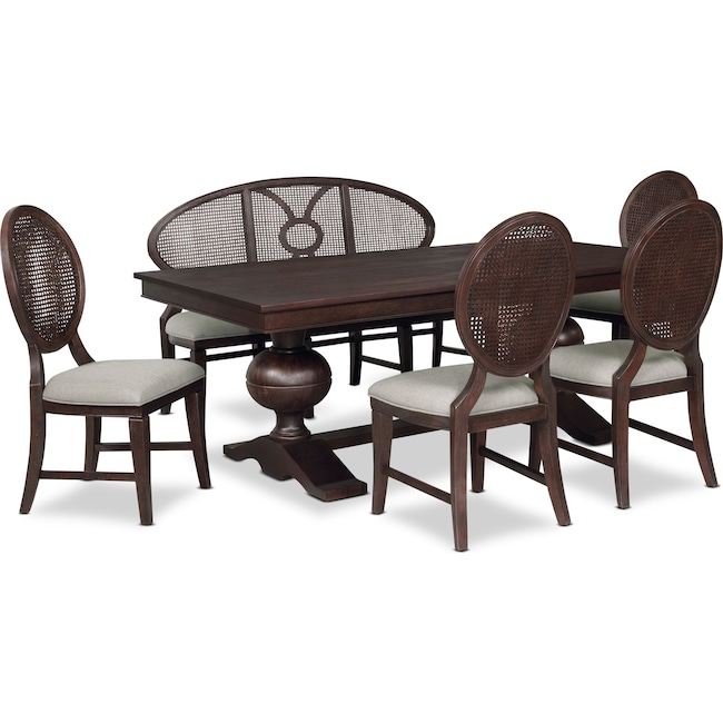 Dining Room Furniture - Wilder Rectangular Dining Table, 4 Side Chairs and Bench