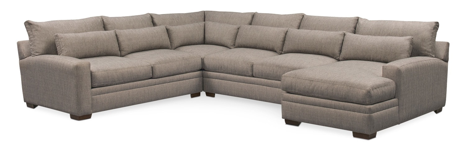 Living Room Furniture - Winston 4-Piece Sectional with Chaise