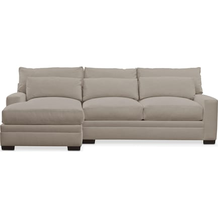 Winston Performance Fabric Foam Comfort 2-Piece Sectional with Left-Facing Chaise - Benavento Dove